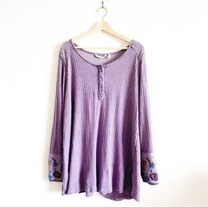 Soft Surroundings Quinn Embroidered button blouse